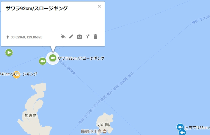 加唐島の北北東沖1.5キロ付近