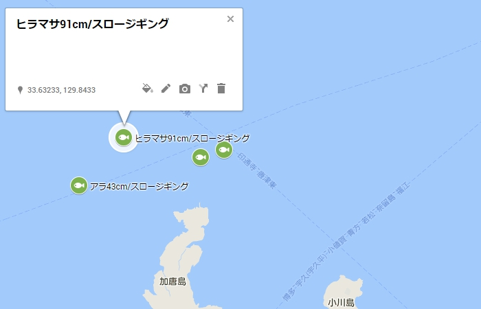 加唐島の北北西沖2キロ付近
